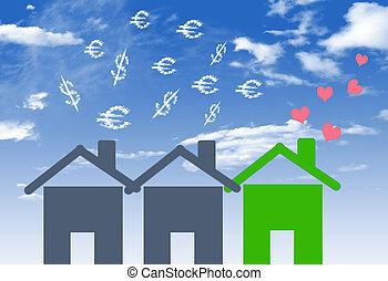 maison, lotissements, argent, em, illustrations, économe, ...