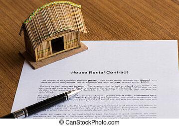 maison, loyer, contrat