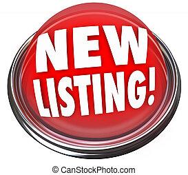 maison, lumière, bouton, vente, nouveau, liste, maison, clignotant, rouges