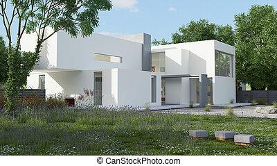 maison, lumière du jour, cube