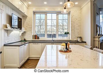 maison, luxe, nouveau, cuisine, intérieur