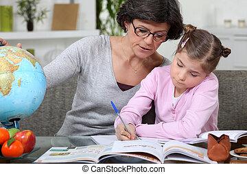 maison, mère, fille, enseignement