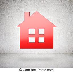 maison, métal, fond, blanc rouge, icône