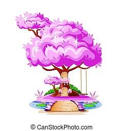 maison, magie, arbre