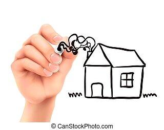 maison, main, dessiné, 3d