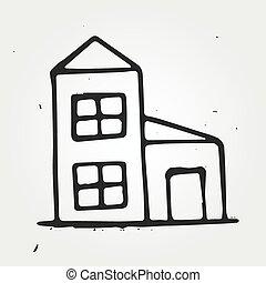 maison, main, dessiné