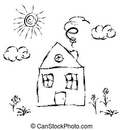 maison, main, dessiné, pré, soleil, mignon, enfant, blanc