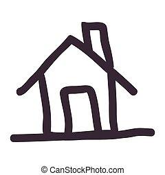 maison, main, silhouette, dessin, icône