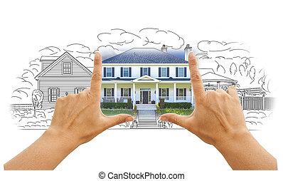 maison, mains, encadrement, photo, blanc, dessin
