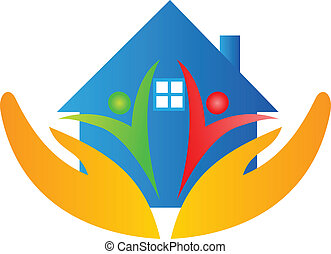 maison, mains, famille, logo