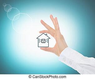 maison, mains humaines