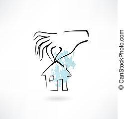 maison, mains, tenue, icône