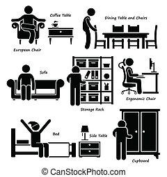 maison, maison, meubles, icônes