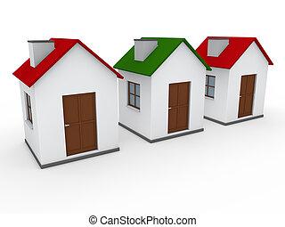 maison, maison, rouge vert, 3d