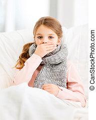 maison, malade, grippe, girl