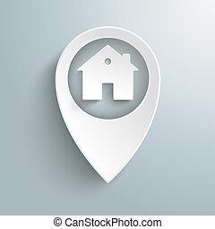 maison, marqueur, piad, emplacement, blanc