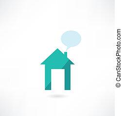 maison, message, icône