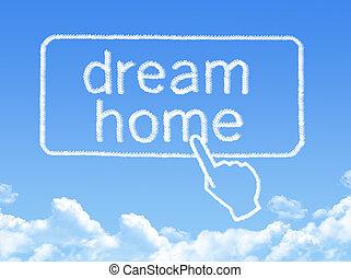 maison, message, rêve, forme, nuage