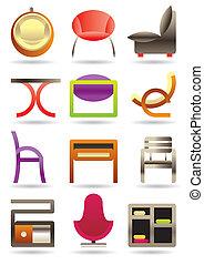 maison, meubles, contemporain, icônes