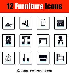 maison, meubles, ensemble, icône