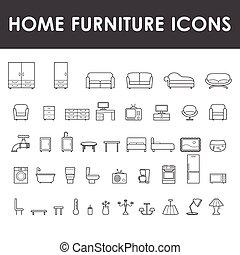 maison, meubles, ensemble, icônes