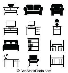 maison, meubles, icônes