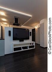 maison, minimaliste, appartement, -, cinéma