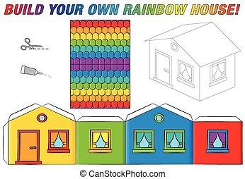 maison, modèle, papier, gabarit, arc-en-ciel