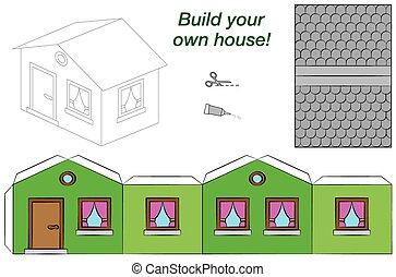 maison, modèle, papier, vert, gabarit
