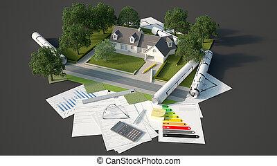 maison, modèle, projet, landcape