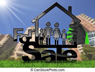 maison, modèle, -, vente, famille