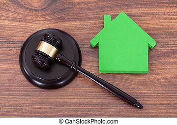 maison, modèle, vert, bloc, maillet