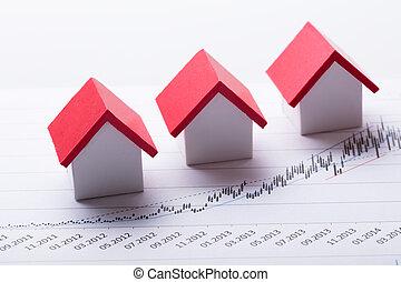 maison, modèles, sur, graphique financier