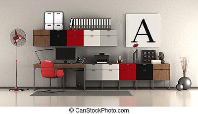 maison, moderne, bureau