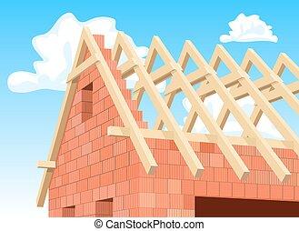 maison, moderne,  détail,  Illustration, sous,  construction