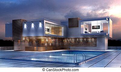 maison, moderne, illustration, luxe, piscine, 3d