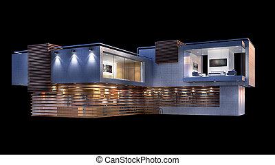 maison, moderne, isolé, illustration, noir, luxe, 3d