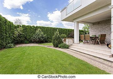 maison, moderne, jardin, beauté