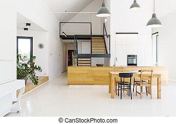 Intérieur, clair, moderne, ouvert, cuisine. Moderne, clair ...