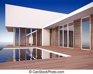 maison, moderne, style., minimaliste