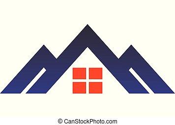 maison, montagne, logo, dsign