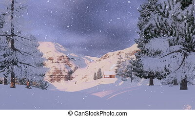 maison, montagnes, neigeux