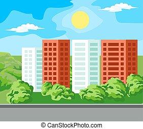 maison, multi-storey, paysage
