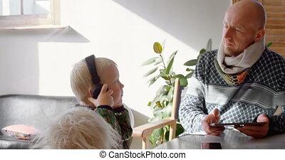maison, musique, numérique, enfants, père, tablette, 4k, écoute