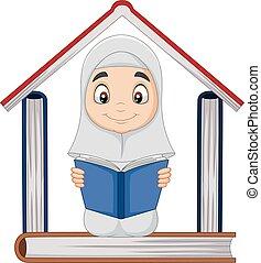 maison, musulman, dessin animé, livres, tas, former, lecture fille, livre