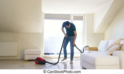 maison, nettoyeur, homme, vide