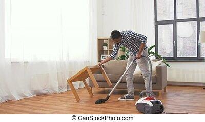 maison, nettoyeur, indien, homme, vide