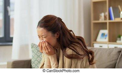 maison, nez, tissu, femme, papier, souffler, malade