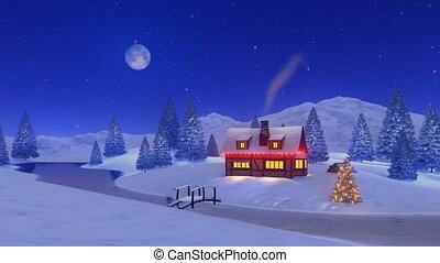 maison, noël, éclairé, chute neige, nuit
