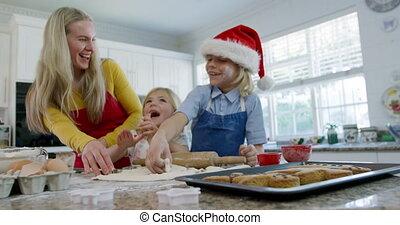 maison, noël cookie, confection, famille